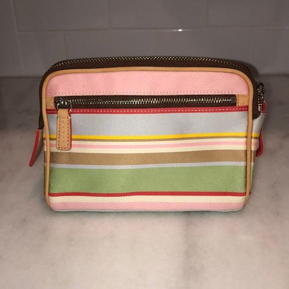 Coach Handbags - Coach Colorful Pastel Striped Cosmetic Bag